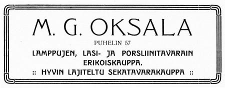 M.G. Oksalan kaupan ilmoitus. Jyväskylän ja ympäristön kuvitettu matkaopas 1912.
