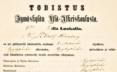 Todistus ensimmäisen lukuvuoden jälkeen 1859