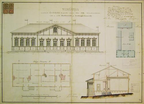 Oskar Lindbergin tekemät muutospiirustukset 1883. Jyväskylän kaupunginarkisto.