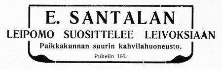 E. Santalan kahvilan ilmoitus. Jyväskylän ja ympäristön kuvitettu matkaopas 1912.