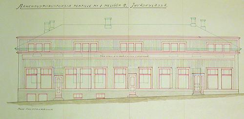 August Teräsvaaran rakennuspiirustus 1929.Kuva Cygnaeuksenkadun puolelta 1933. Jyväskylän kaupunginarkisto.