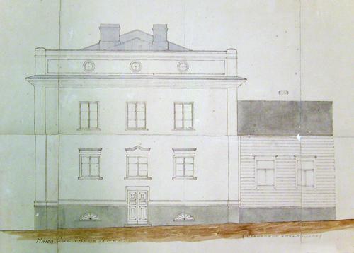 August Teräsvaara: kerrostalon rakennuspiirustus 1929. Jyväskylän kaupunginarkisto.