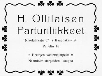 Parturi H. Ollilaisen ilmoitus. Jyväskylän ja ympäristön kuvitettu matkaopas 1912.