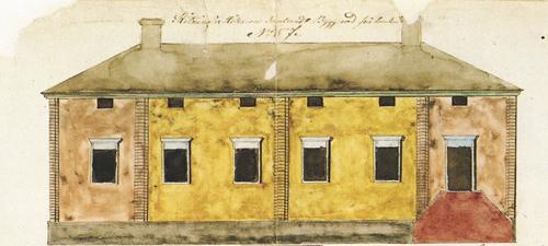 Vuonna 1839 rakennetun talon huoneet palvelivat vuosikymmenien kuluessa niin ravintolasaleina kuin luokkahuoneinakin. Rakennuspiirustus vuodelta 1839, julkisivu. Jyväskylän kaupunginarkisto.