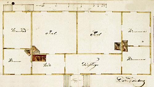 Rakennuksen pohjapiirros 1839. Jyväskylän kaupunginarkisto.