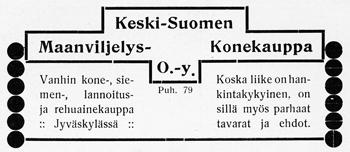 Keski-Suomen Maanviljelys Konekaupan ilmoitus. Jyväskylän ja ympäristön kuvitettu matka-opas 1912.