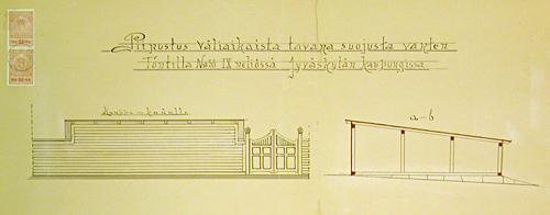 Suunnitelma tontin uudesta aidasta 1904. Jyväskylän kaupunginarkisto.
