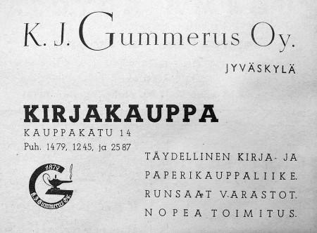 Gummeruksen kirjakaupan ilmoitus. Keski-Suomen puhelinluettelo 1943.
