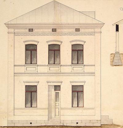 Vuonna 1881 valmistuneen, Anton Hindströmin suunnitteleman tiilirakennuksen julkisivupiirustus Kauppakadulle. Jyväskylän kaupunginarkisto.