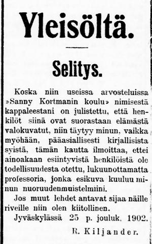 Robert Kiljanderin teksti Selitys. Lehtileike. Päivälehti 1902
