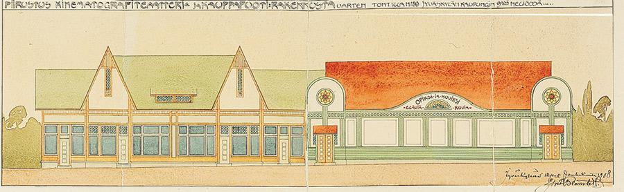 Piirustus kinematografiteatteri- ja kauppapuotirakennusta varten. Vain elokuvateatteriosa rakennettiin. Yrjö Blomstedt, 1908. JKA.