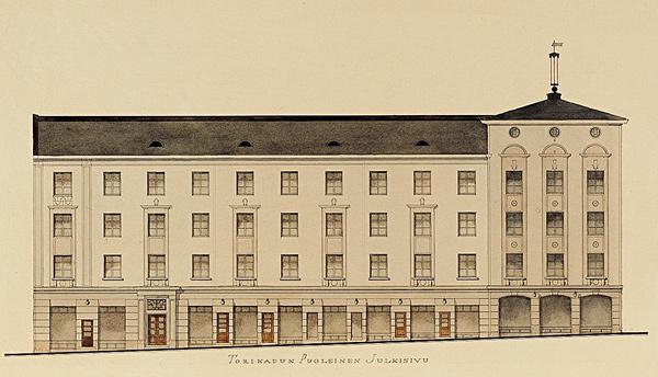 Toritalon rakennuspiirustus, Urho Åberg, 1928. Jyväskylän kaupunginarkisto.