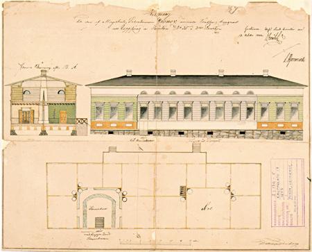 Maistraatin sihteeri Gronowille suunniteltu talo. Daniel Tornberg 1843. Jyväskylän kaupunginarkisto.