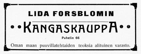 Lida Forsblomin ilmoitus. Jyväskylän ja ympäristön kuvitettu matka-opas 1912.