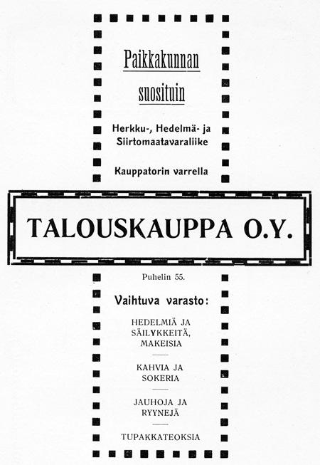 Talouskauppa Oy:n ilmoitus. Jyväskylän ja ympäristön kuvitettu matka-opas.1912.