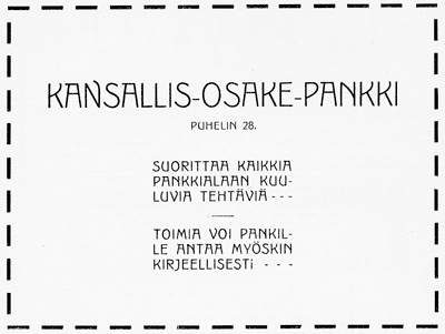 Kansallis-Osake-Pankin ilmoitus. Jyväskylän ja ympäristön kuvitettu matka-opas 1912.