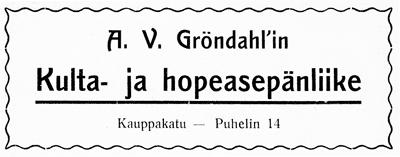 A.V. Gröndahlin ilmoitus. Jyväskylän ja ympäristön kuvitettu matka-opas 1912.