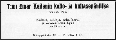 Kultaseppä Keilanin ilmoitus. Jyväskylän ja ympäristön kuvitettu matka-opas 1912.