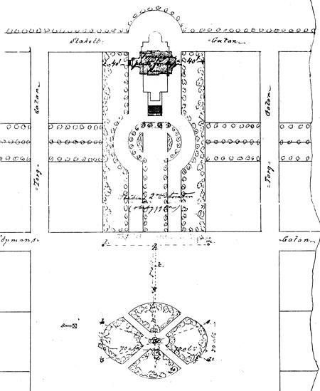L.I. Lindqvistin suunnitelma uuden kirkon paikaksi 1873.  Jyväskylän seurakunnan arkisto.