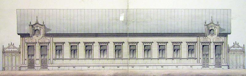 Arkkitehti Knut Nylanderin suunnitelma liike- ja hotellirakennusta varten 1884. Jyväskylän kaupunginarkisto.