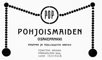 POP:n ilmoitus. Jyväskylän ja ympäristön kuvitettu matkaopas 1912.