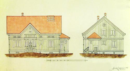 Rakennusmestari August Teräsvaara suunnitteli tontin perälle  Mitron perheen kaupunkitalon 1928. Jyväskylän kaupunginarkisto.