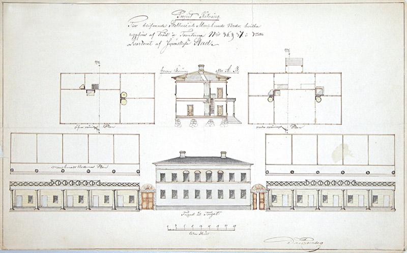 Daniel Tornbergin suunnitelma markkinapuoti- ja koulurakennusta varten 1848. Jyväskylän kaupunginarkisto.