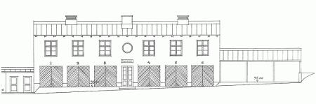 Arkkitehti Oiva Kallion laatima autotallirakennuksen piirustus. JKA.