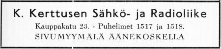 Kerttusen sähkön ilmoitus. Jyväskylän 100-vuotisjuhlamessut -julkaisu 1937