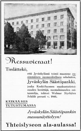 Säästöpankin ilmoitus. Jyväskylän 100-vuotisjuhlamessut -julkaisu 1937