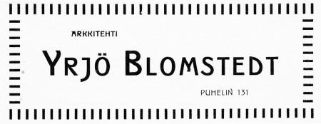 Yrjö Blomstedt, ilmoitus. Jyväskylän ja ympäristön kuvitettu matka-opas 1912.