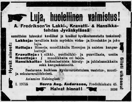 Fredriksonin lakkitehtaan ilmoitus. Päivälehti 1904.