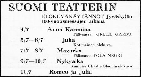 Suomi-teatterin ilmoitus Jyväskylän 100-vuotisjuhlamessujulkaisussa 1937.