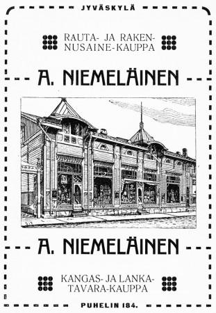 Kauppias Niemeläinen hyödynsi kaupparakennuksensa uutta ilmettä myös mainoksissa. Jyväskylän ja ympäristön kuvitettu matkaopas 1912.