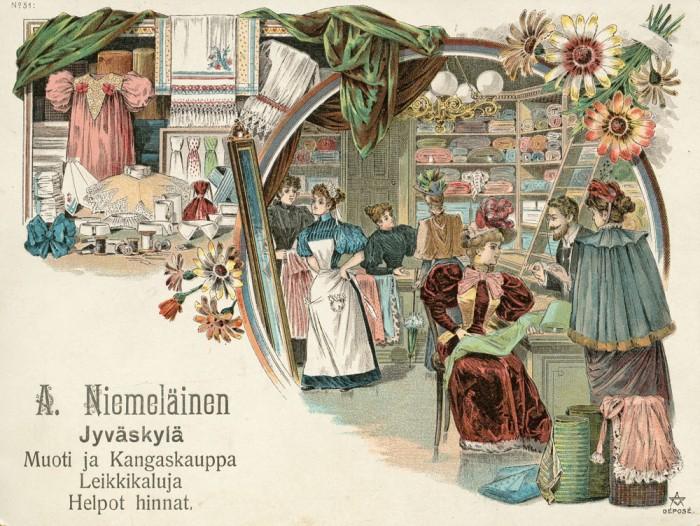 Kauppias Niemeläinen hyödynsi kaupparakennuksensa uutta ilmettä myös mainoksissa. Postikortti, Keski-Suomen museo.