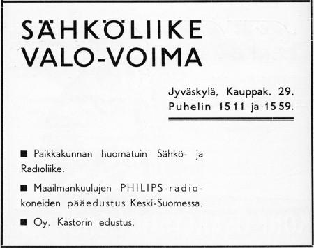 Valo-Voiman ilmoitus. Jyväskylän 100-vuotisjuhlamessut -julkaisu 1937.