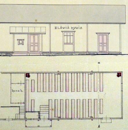 Rakennuspiirustus Elävien kuvien talosta 1907. Jyväskylän kaupunginarkisto.