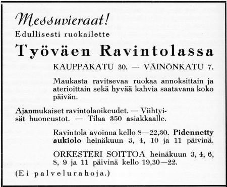 Työväen ravintolan ilmoitus. Jyväskylän 100-vuotisjuhlamessut -julkaisu 1937.