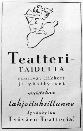Jyväskylän työväenteatterin ilmoitus. Keski-Suomen puhelinluettelo 1943.