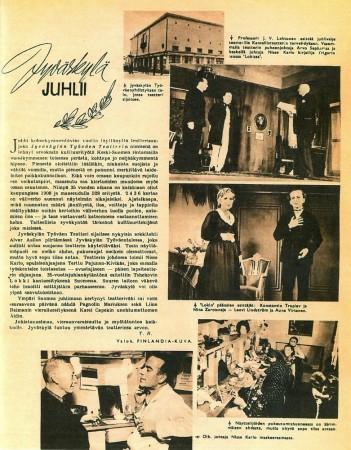 Jyväskylän Työväenteatterin 35-vuotisjuttu Suomen Kuvalehdessä marraskuussa 1945.