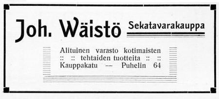 Joh. Wäistön ilmoitus. Jyväskylän ja ympäristön kuvitettu matka-opas 1912.