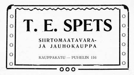 T.E. Spetsin ilmoitus.  Jyväskylän ja ympäristön kuvitettu matkaopas 1912.