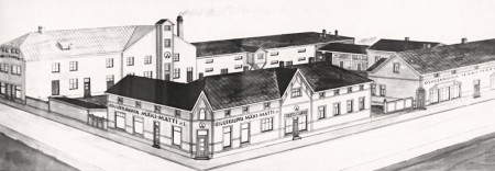 Piirros Mäki-Matin tontin rakennuksista. Nimimerkki AL. Jyväskylän kaupungin kartta- ja liikekalenteri 1927.