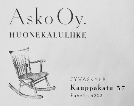 Asko Oy:n ilmoitus. Keski-Suomen puhelinluettelo 1943.