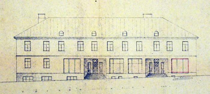 Vuonna 1926 rakennettuun asuin- ja liikerakennukseen tehtiin näyteikkunan laajennus vuonna 1943. Jyväskylän kaupunginarkisto.