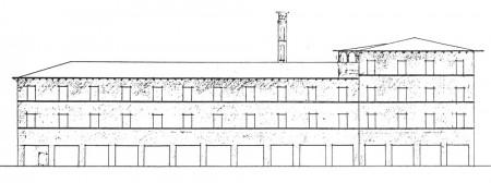 Alvar Aallon suunnitelma Kauppakatu 41:n uudeksi kerrostaloksi vuonna 1926.  Alvar Aalto -museo.