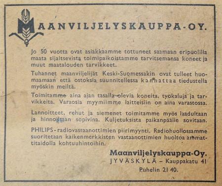 Maanviljelyskauppa Oy:n ilmoitus. Keski-Suomen puhelinluettelo 1943.